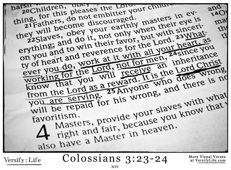 The Most Shared Verses in Their Context (Colossians 3:23-24)