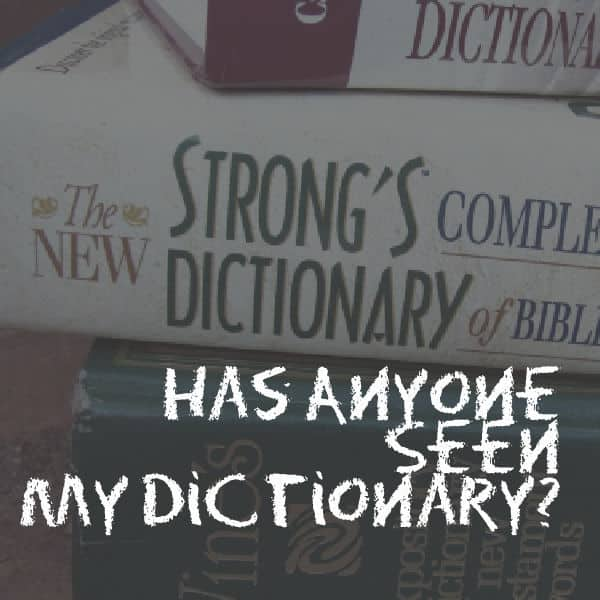 Anyone Seen My Dictionary?