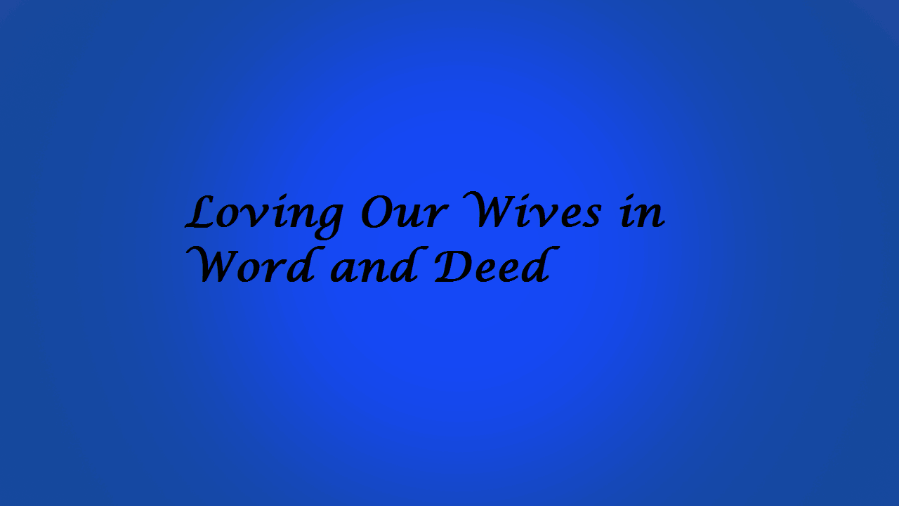 Loving, Loving Our Wives in Word and Deed, Servants of Grace, Servants of Grace